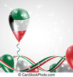Flag of Kuwait on balloon. Celebration and gifts. Ribbon in...