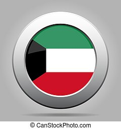 Flag of Kuwait. Shiny metal gray round button.