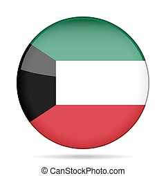 Flag of Kuwait. Shiny round button.