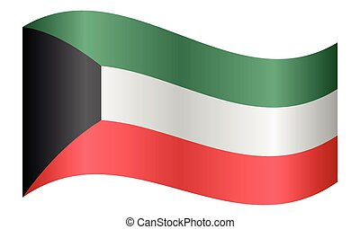 Flag of Kuwait waving on white background