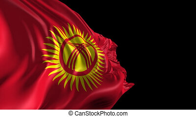 Beautiful 3d animation of the Kyrgyzstan flag with alpha channel