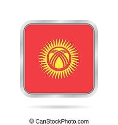 Flag of Kyrgyzstan. Metallic gray square button.