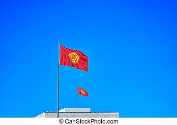 Flag of Kyrgyzstan. - Two Kyrgyzstan flags waving in the ...