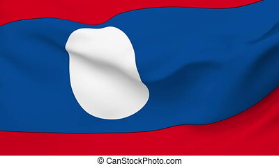 Flag of Laos - Flag of the Laos waving in the wind. Seamless...
