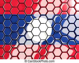 Flag of laos, hexagon mosaic background