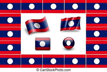 Flag of Laos. icon set. flags frame.