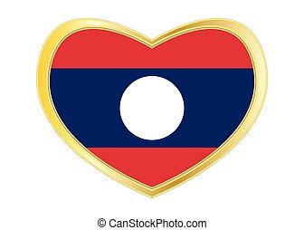 Flag of Laos in heart shape, golden frame - Laotian national...