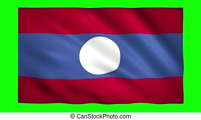 Flag of Laos on green screen for chroma key
