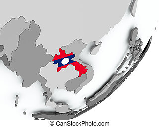 Flag of Laos on map