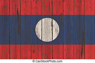 Flag of Laos painted on wooden frame