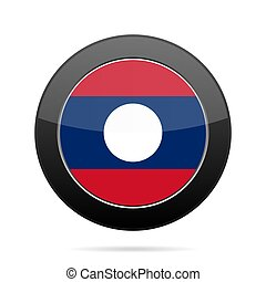 Flag of Laos. Shiny black round button. - National flag of...