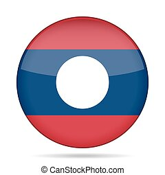 Flag of Laos. Shiny round button.