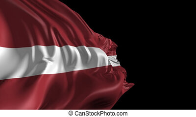 Beautiful 3d animation of the Latvia flag with alpha channel