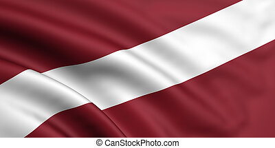 Flag Of Latvia - 3d rendered and waving flag of latvia
