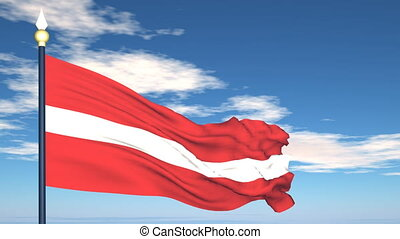 Flag Of Latvia on the background of the sky and flying...