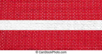 Flag of Latvia on brick wall texture background