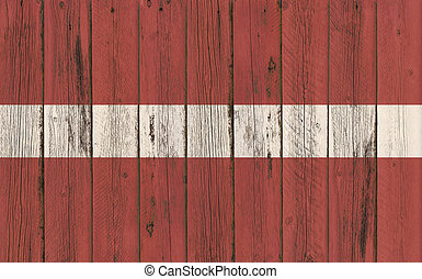 Flag of Latvia painted on wooden frame