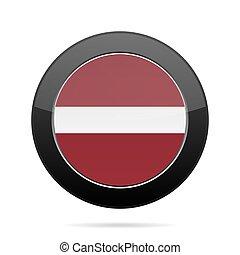 Flag of Latvia. Shiny black round button.