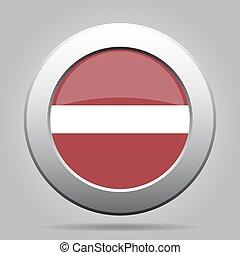 Flag of Latvia. Shiny metal gray round button.