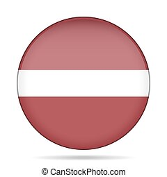 Flag of Latvia. Shiny round button.