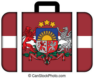 Flag of Latvia with Coat of Arms. Suitcase icon, travel and transportation concept