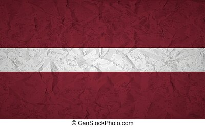 Flag of Latvia with the effect of crumpled paper and grunge...