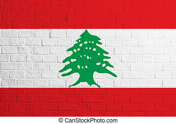 Flag of Lebanon. Brick wall texture of the flag of Lebanon