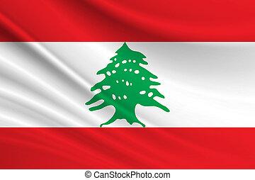 Flag of Lebanon. Fabric texture of the flag of Lebanon