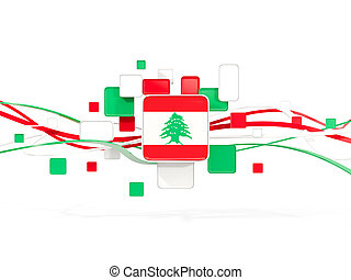 Flag of lebanon, mosaic background with lines