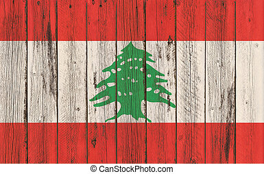 Flag of Lebanon painted on wooden frame