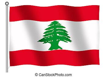 Flag of Lebanon Waving