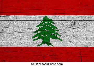 Flag of Lebanon. Wooden texture of the flag of Lebanon