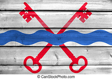 Flag of Leiderdorp, Netherlands, painted on old wood plank background