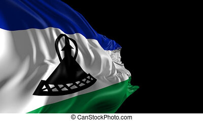 Beautiful 3d animation of the Lesotho flag with alpha channelc