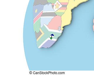 Flag of Lesotho on political globe