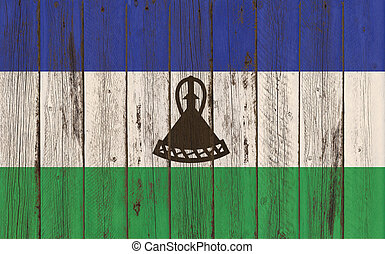 Flag of Lesotho painted on wooden frame
