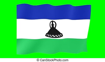 Flag of Lesotho. Waving flag