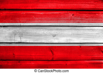 Flag of Leuven, Belgium, painted on old wood plank background