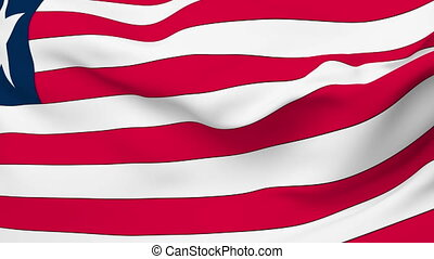 Waving national flag of liberia  Animation of the full