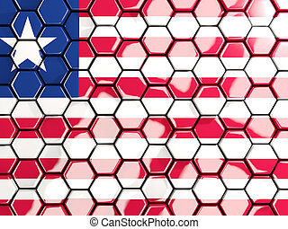 Flag of liberia, hexagon mosaic background