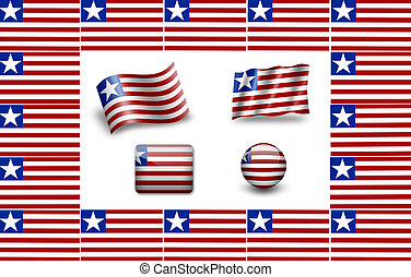 Flag of Liberia. icon set. flags frame.