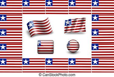 Flag of Liberia. icon set. flags frame.