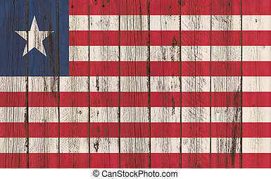 Flag of Liberia painted on wooden frame