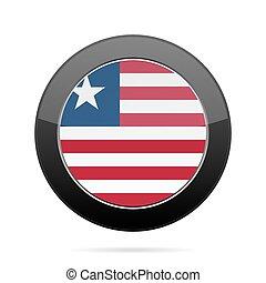 Flag of Liberia. Shiny black round button.