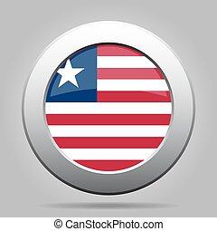 Flag of Liberia. Shiny metal gray round button.