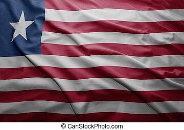 Flag of Liberia - Waving colorful Liberian flag