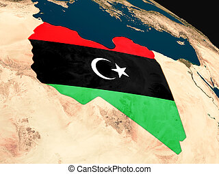 Flag of Libya from space