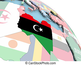 Flag of Libya on globe