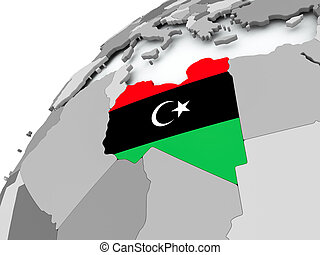 Flag of Libya on grey globe
