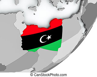 Flag of Libya on map